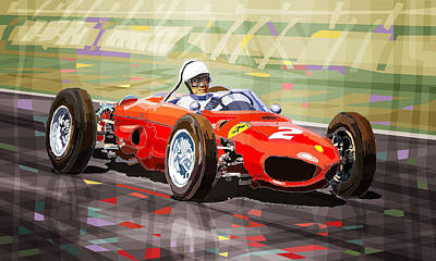 Hills Digital Art - Ferrari 156 Dino British Gp1962 Phil Hill by Yuriy Shevchuk