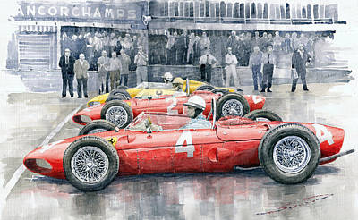 Watercolor Sports Painting - Ferrari 156 Sharknose 1961 Belgian Gp by Yuriy Shevchuk