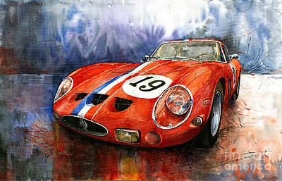 Watercolour Wall Art - Painting - Ferrari 250 Gto 1963 by Yuriy Shevchuk