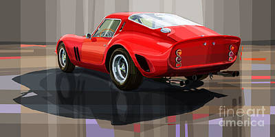 Drawing Digital Art - Ferrari 250 Gto by Yuriy Shevchuk