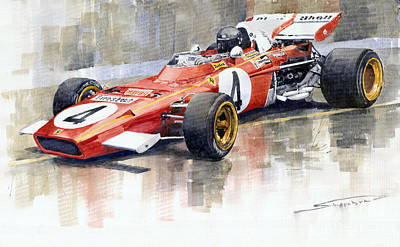 Watercolor Sports Painting - 1971 Ferrari 312 B2 1971 Monaco Gp F1 Jacky Ickx by Yuriy  Shevchuk