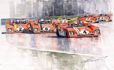Motor Painting - Ferrari 312 Pb Daytona 6 Hours 1972 by Yuriy  Shevchuk