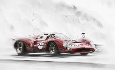 Dino Digital Art - Ferrari 330 P Series by Peter Chilelli