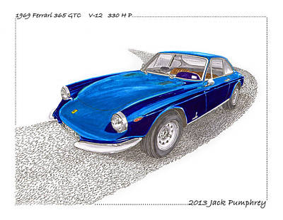 Caracalla Painting - Ferrari 365 Gtc 1969 by Jack Pumphrey