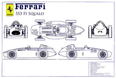 Hot Wheels Photograph - Ferrari 553 F1 Squalo Blueprint by Jon Neidert