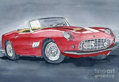 Art Print featuring the painting Ferrari 62   250 Gt by Eva Ason