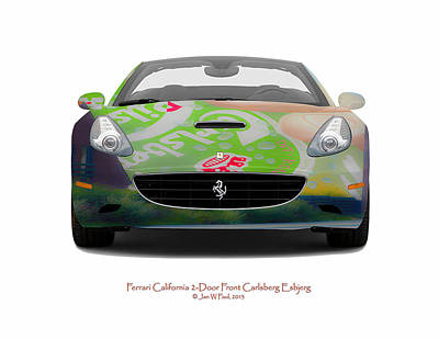 Ferrari California Carlsberg Esbjerg Art Print by Jan W Faul