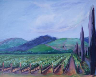 Wine Painting - Ferrari Carano Vineyard by Donna Tuten