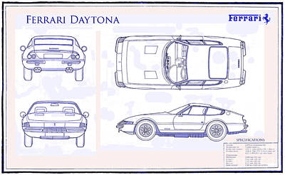 Super Cars Drawing - Ferrari Daytona Blue Print  by Jon Neidert