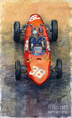 Autos Painting - Ferrari Dino 156 1962 Monaco Gp by Yuriy Shevchuk