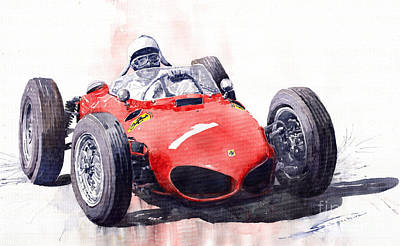 Retro Painting - Ferrari Dino 156 F1 1961  by Yuriy  Shevchuk