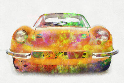 Ferrari Dino 246 Colorful Abstract On White Art Print by Eti Reid