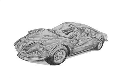 Italian Classic Car Drawing - Ferrari Dino by Benjamin Self