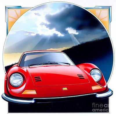 80s Cars Digital Art - Ferrari Dino by Gavin Macloud