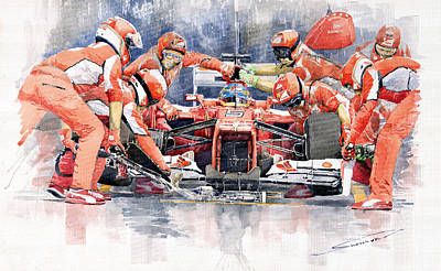 Watercolor Sports Painting - 2012 Ferrari F 2012 Fernando Alonso Pit Stop by Yuriy  Shevchuk