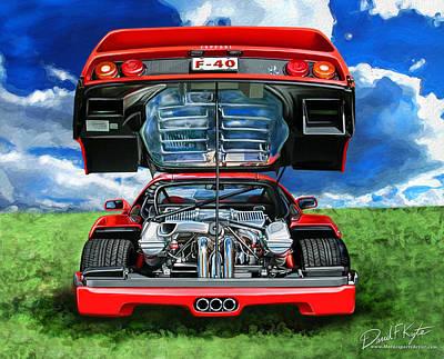Digital Art - Ferrari F-40 by David Kyte