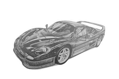 Italian Classic Car Drawing - Ferrari F50 by Benjamin Self