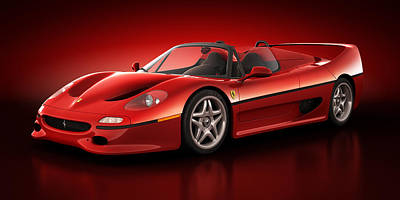 Art Print featuring the digital art Ferrari F50 - Flare by Marc Orphanos