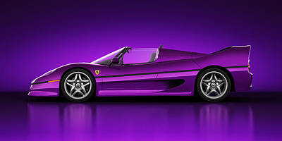 Art Print featuring the digital art Ferrari F50 - Neon by Marc Orphanos