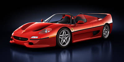 Digital Art - Ferrari F50 - Phantasm by Marc Orphanos