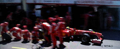 Painting - Ferrari Formula 1 Team Pit Stop by George Pedro