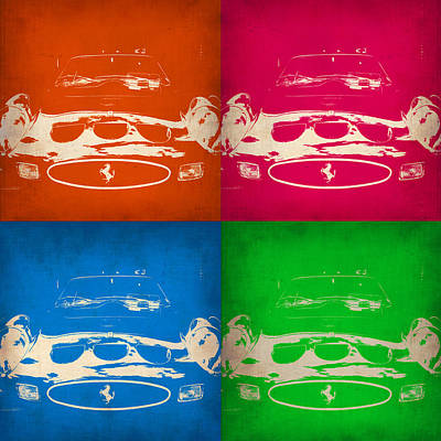 Vintage Cars Painting - Ferrari Front Pop Art 4 by Naxart Studio