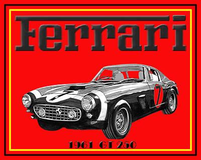 Drawing - 1961 Ferrari G T 250 by Jack Pumphrey