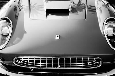 Photograph - Ferrari Grille Emblem -0504bw by Jill Reger