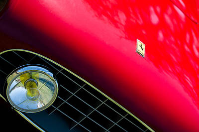 Headlight Photograph - Ferrari Grille Emblem - Headlight by Jill Reger