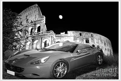 Editorial Mixed Media - Ferrari In Rome by Stefano Senise
