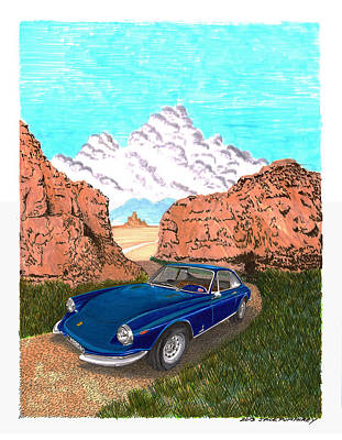 Caracalla Painting - 1969 Ferrari 365 G T C In The Mountains 1969 365 G T C by Jack Pumphrey