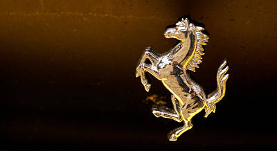 Photograph - Ferrari Logo by Linda Freebury