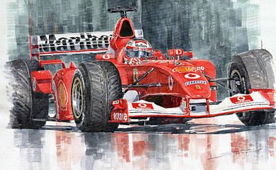 F1 Painting - 2002 Ferrari Marlboro F 2002 Ferrari 051 Rubens Borrichello by Yuriy Shevchuk