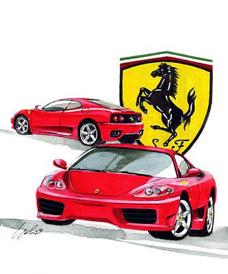 Ferrari Modena 360 Art Print by Yoshiharu Miyakawa