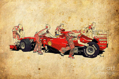 Large Format Mixed Media - Ferrari Pits - Red Ferrari by Pablo Franchi