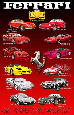 Sports Paintings - Ferrari Sports Car Poster  by Jack Pumphrey