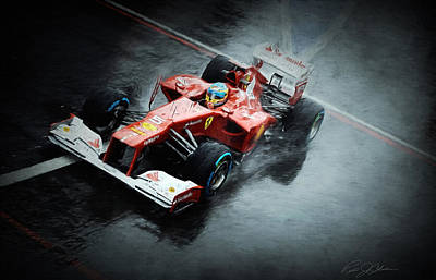 Ferrari Rain Dance Art Print by Peter Chilelli