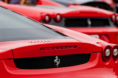 Pebble Beach Photograph - Ferrari Rear Emblems by Jill Reger
