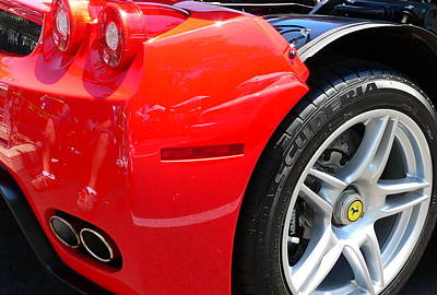 Photograph - Ferrari Rear Panel And Tire by Jeff Lowe