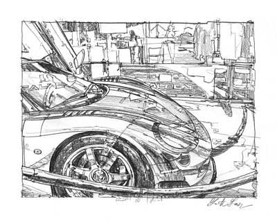 Impressionism Drawings - Ferrari-Saleen Study by Garth Glazier