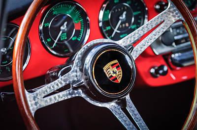 Photograph - Porsche Steering Wheel Emblem -0538  by Jill Reger