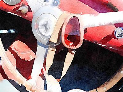 Old Cars Painting - Ferrari Steering Wheel Watercolor by Naxart Studio