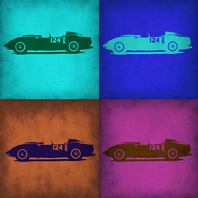 European Cars Mixed Media - Ferrari Testa Rossa Pop Art 1 by Naxart Studio