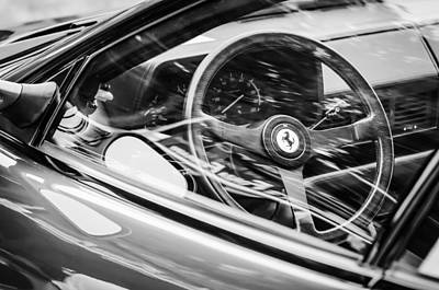 Photograph - Ferrari Testa Rossa Tr Steering Wheel Emblem -0376bw by Jill Reger