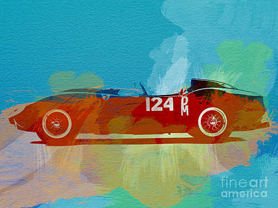 Vintage Cars Painting - Ferrari Testa Rossa Watercolor 1 by Naxart Studio