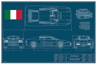 Miami Vice Drawing - Ferrari Testarossa Berlinetta by Douglas Switzer