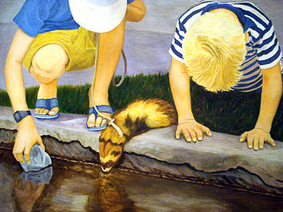 Art Print featuring the painting Ferret And Friends by Karen Zuk Rosenblatt