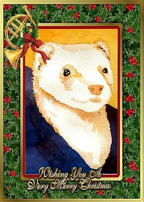 Ferret Painting - Ferret Blank Christmas Greeting Card by Olde Time  Mercantile