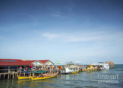 Ferries At Koh Rong Island Pier In Cambodiaferries At Koh Rong I Art Print