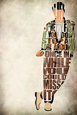 Typographic Digital Art - Ferris Bueller's Day Off by Ayse and Deniz